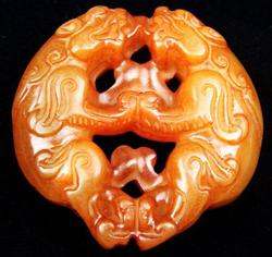 Jade Hand Carved Old Nephrite Double Foo Dog Pendant