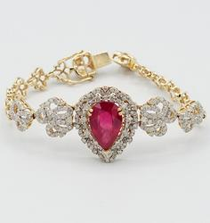 Gorgeous 14KT Yellow Gold Ruby and Diamond Bracelet