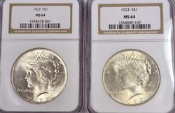 1922 and 1923 Peace Dollars MS64