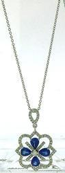 1.65 CTW Diamond & Sapphire Pendant Necklace