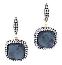 Excellent Blue Quartz & Diamond Dangle Earrings, 18K