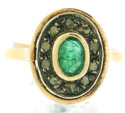 Vintage Emerald and Slice Cut Diamond Ring