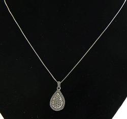 Teardrop Multi Diamond & White Topaz Pendant in Sterlin