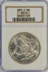Solid Gem BU 1885-O Morgan Silver Dollar. NGC MS65