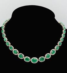 Striking 14KT Yellow Gold Emerald and Diamond Necklace