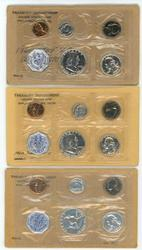 3 Special 1960 Small Date Proof Sets in envelopes
