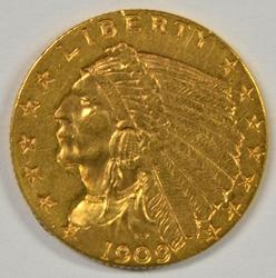 Very lovely 1909 US $2.50 Indian Gold Piece