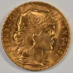 Gem BU 1910 France 20 Francs Gold 'Rooster'