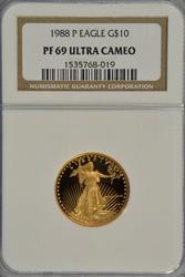 Gem 1988-P $10 Cameo Proof Gold Eagle. NGC PF69DCAM