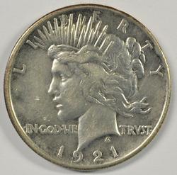 Key date 1921 Peace Silver Dollar. Nice circ
