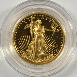 Gem Ultra Cameo Proof 1993 $5 Gold Eagle. Capsule