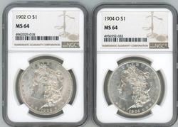 Near Gem BU 1902-O & 1904-O Morgan Dollars. NGC MS65