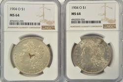2 Nearly Gem BU 1904-O Morgan Silver Dollars. NGC MS64