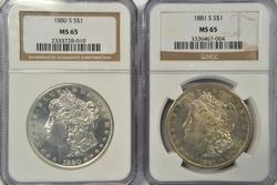 Gem BU 1880-S & 1881-S Morgan Silver Dollars. NGC MS65