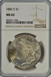 Super Gem BU 1882-S Morgan Silver Dollar. NGC MS65