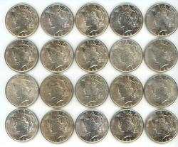 AU to BU Roll of 20 1922 Peace Silver Dollars