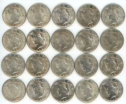 AU to BU Roll of 20 1923 Peace Silver Dollars