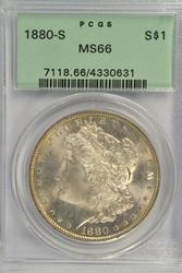 Old Green Label PCGS MS66 graded 1880-S Morgan Dollar.
