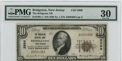 Scarce 1929 $10 Nat'l of Bridgeton, NJ (2999). PMG VF30