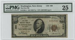 1929 Series $10 National Washington, NJ (860). PMG VF25