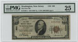 1929 Series $10 National Washington, NJ (860). PMG VF25