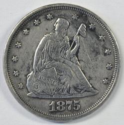 Very Scarce 1875 Twenty Cent Piece. XF45 details