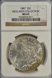 Great Gem BU 1887 Morgan Silver Dollar. NGC MS65