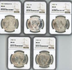 5 Diff. near Gem BU Silver Dollars 1921-25. NGC MS64