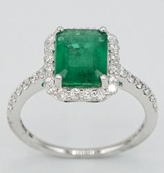 Sophisticated 18KT White Gold Emerald and Diamond Ring