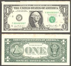 $1 1981 Cutting Error showing tip of sheet