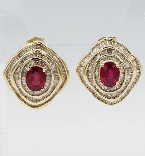TWO STOCK NUMB. 14kt Yellow Gold Ruby and Diamond Earrings +6ctw.
