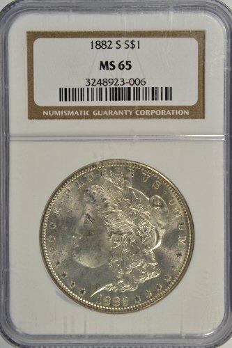 Super Gem BU 1882-S Morgan Silver Dollar. NGC MS65