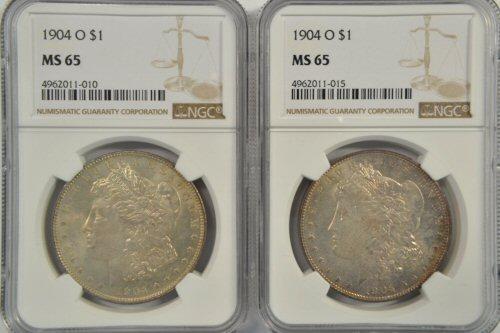 2 Great Gem BU 1904-O Morgan Silver Dollars. NGC MS65