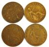 4 English 1920 One Penny Coins