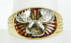 Vintage 10K Moose Elks Lodge Ring, Size 11.25