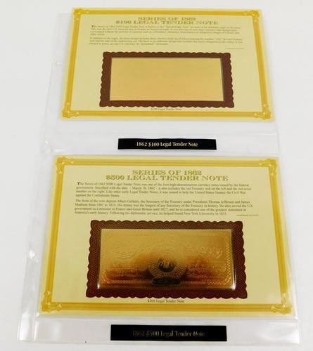 2 - 22KT Gold Foil Replica 1862 Notes