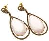Fabulous Pink Quartz & Diamond Dangle Earrings in 14K