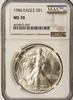 Key 1986 MS70 Silver Eagle, NGC