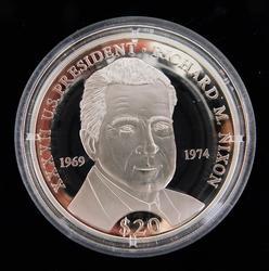 Richard Nixon .999 Silver 20 Dollar Proof Coin w/COA