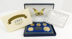 1993 5 Coin Set Layered in 24KT Gold w/COA