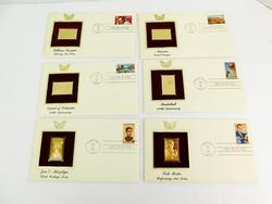 6 1st Day Issue Stamps & 22KT Gold Ingots