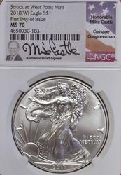 2018 First Day Issue MS70 Castle Signed Silver $, NGC