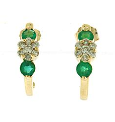 Lovely Diamond Cluster and Emerald Earrings