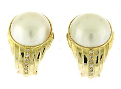 Classy Mabe Pearl and Diamond Earrings