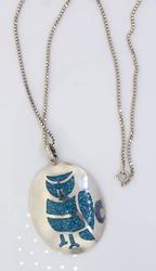Large Turquoise Inlay Sterling Pendant with Chain