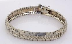 Wide Slinky Sterling Silver Bracelet 7 1/2 inches
