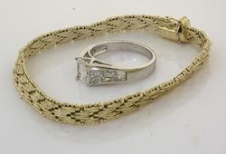 Sterling Silver Woven Bracelet & Ring