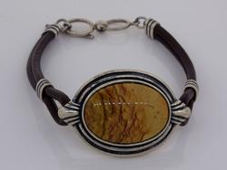 Vintage Sterling Silver Leather Bracelet with Stone