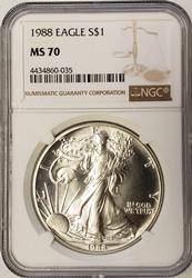 Key 1988 MS70 Silver Eagle, NGC