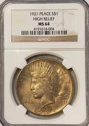 Superb Light Tone MS64 High Relief Peace Dollar